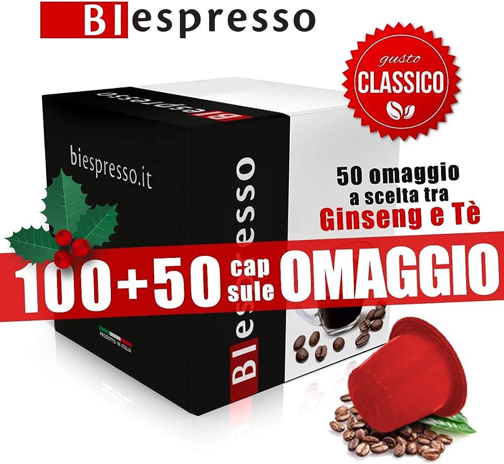 Biespresso,100 + 50 capsule compatibili con le macchine nespresso, aroma classico,