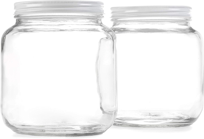 Half Gallon Glass Jar with Airtight Leakproof Metal Lid - Wide Mouth Empty - Dishwasher Safe, Food Safe - Kombucha Tea, Kefir, Canning, Sun Tea, Fermentation, Food Storage, 2 Jars
