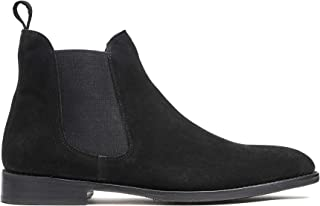Black Chelsea Suede Boots, Men Dress Shoes Goodyear Welted