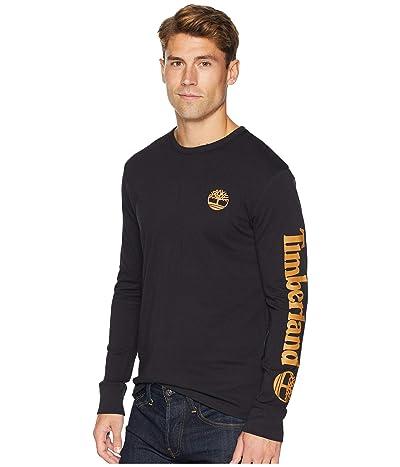 Timberland Long Sleeve Logo Tee (Black/Wheat) Men