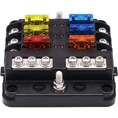 Kkmoon 6 Fach Sicherungshalter Box Sicherungskasten Mit Led Anzeige Schutzabdeckung Dc 12 32v Für Auto Boot Van Lkw Auto