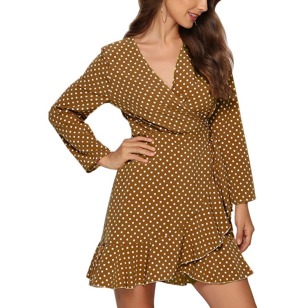 Available at Amazon: JUPE VENDUE V Neck Wrap Polka Dot Mini Dresses Long Sleeve Ruffles A Line Flowy Swing Dress Boho Beach Sexy Sundress.