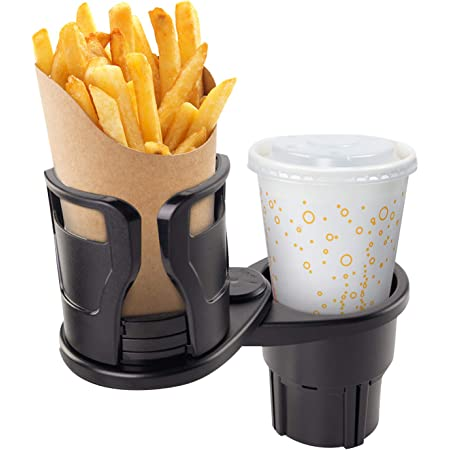 YOUTHUP Multifunctional Cup Holder for Car, 2 in 1 Rotating Car Cup Holder Expander, Adjustable Movable Bracket Perfect for 17oz - 20 oz Bottles Coffee Drink Ipad Snack Fries (Black)