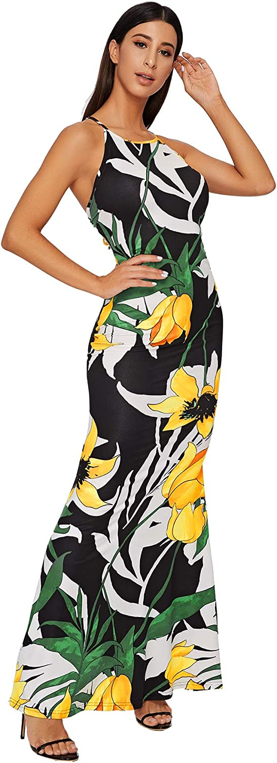 SheIn Womens Strappy Backless Summer Evening Party Maxi Dress