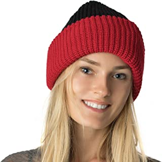 Accessory Necessary Warm Unisex Chunky Double Layer Reversible Ribbed Fisherman's Slouchy Beanie Hat Skull Cap