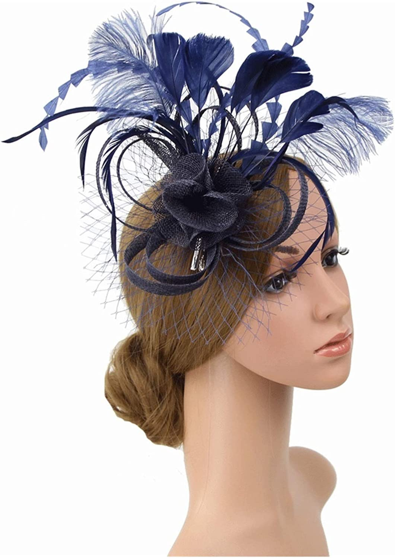 LANREN Fashion Women's Fascinator Hat Flower Mesh Ribbons Fedoras Tea Party (Color : Navy Blue)