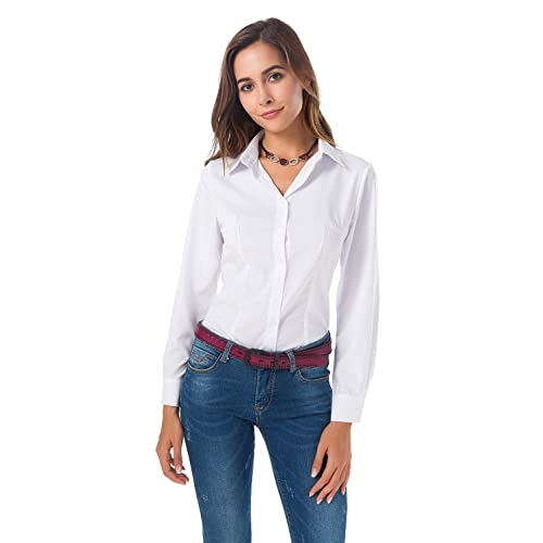 a03a536d052da7 Womens Basic Long Sleeve Button Down Shirts Simple Pullover Stretch Formal  Casual Shirt