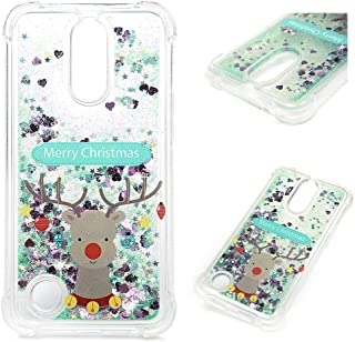 ZTE Blade Z Max Case, ZMax Pro 2 Christmas Clear Liquid Glitter Case Bling Shiny Glitter Sparkle Flowing Moving Hearts Crystal Ultral Slim Shock Absorbtion TPU Bumper Drop Resistant Cover for ZTE Z982