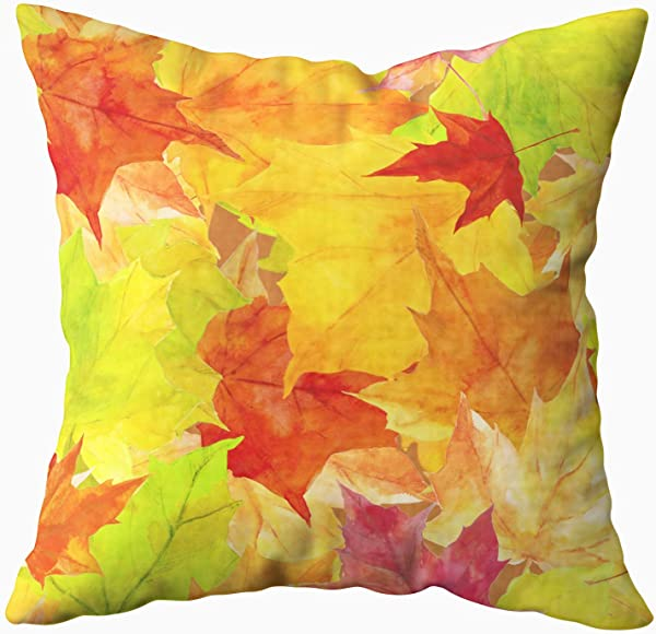 TOMWISH Throw Pillow Covers Hidden Zippered 16X16Inch Autumn Watercolor Maple Leaves Pattern Print Perfect Greetings Wrapping Decorative Throw Cotton Pillow Case Cushion Cover For Home Decor