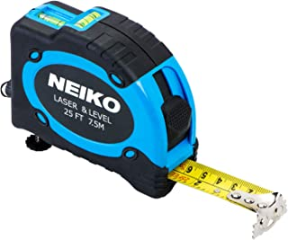 Neiko 01601A Multi-Purpose SAE and Metric Measuring Tape with Level and Laser | 25-Feet (7.5 Meters) Maximum Measuring Length