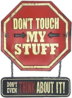 66Retro (Embossed) Don't Touch My Stuff, Vintage Retro Metal Tin Sign, Wall Decorative Sign