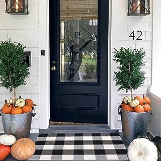 Tapis en coton Buffalo à carreaux noirs et blancs avec coussinet en latex antidérapant, lavable pour intérieur/extérieur p...
