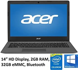 Acer Aspire One Cloudbook 14in Laptop PC, Intel Celeron N3050 1.6GHz, 2GB DDR3L Memory, 32GB eMMC, Webcam, HDMI, 802.11ac WIFI, Bluetooth, Windows 10 (Renewed)