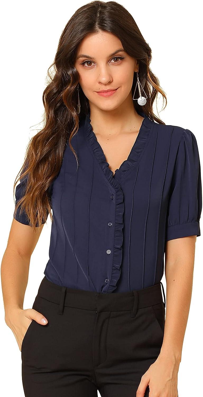 Allegra K Women's Pleated Front Ruffle V Neck Puff Short Sleeve Blouse