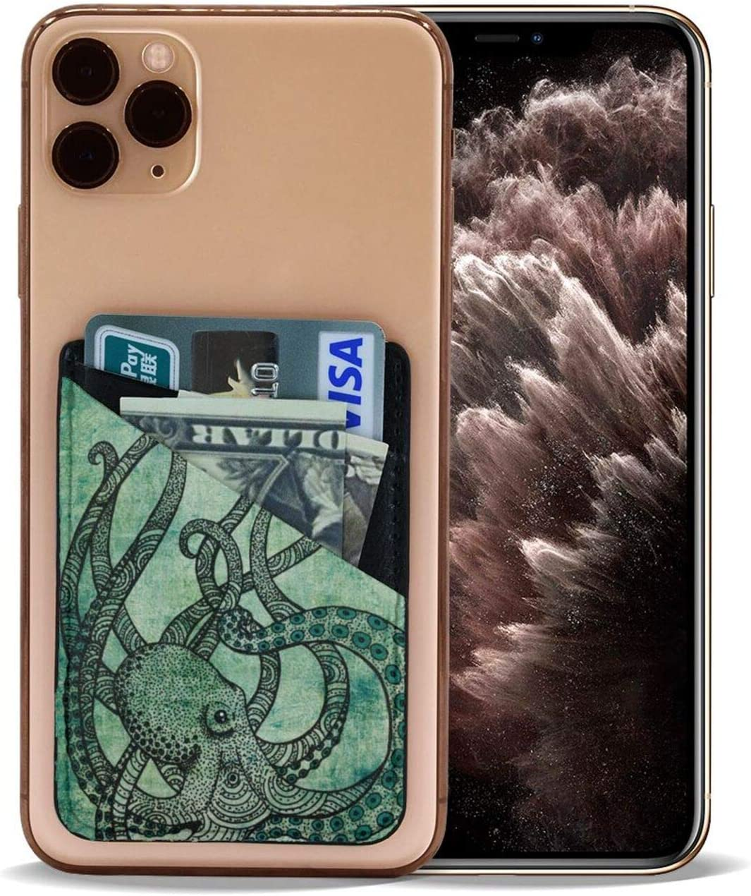Vintage Octopus Phone Card Holder, Stick-on ID Credit Card Wallet Phone Case Pouch Sleeve Pocket for iPhone, Android and All Smartphones
