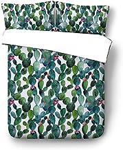 Sticker superb Juego de Ropa de Cama, Ropa de Cama 3 Piezas, Incluye Fundas de Almohada + Funda Nórdica, Diseño de Cactus Tucán Flamenco (Cactus, Cama 150cm)