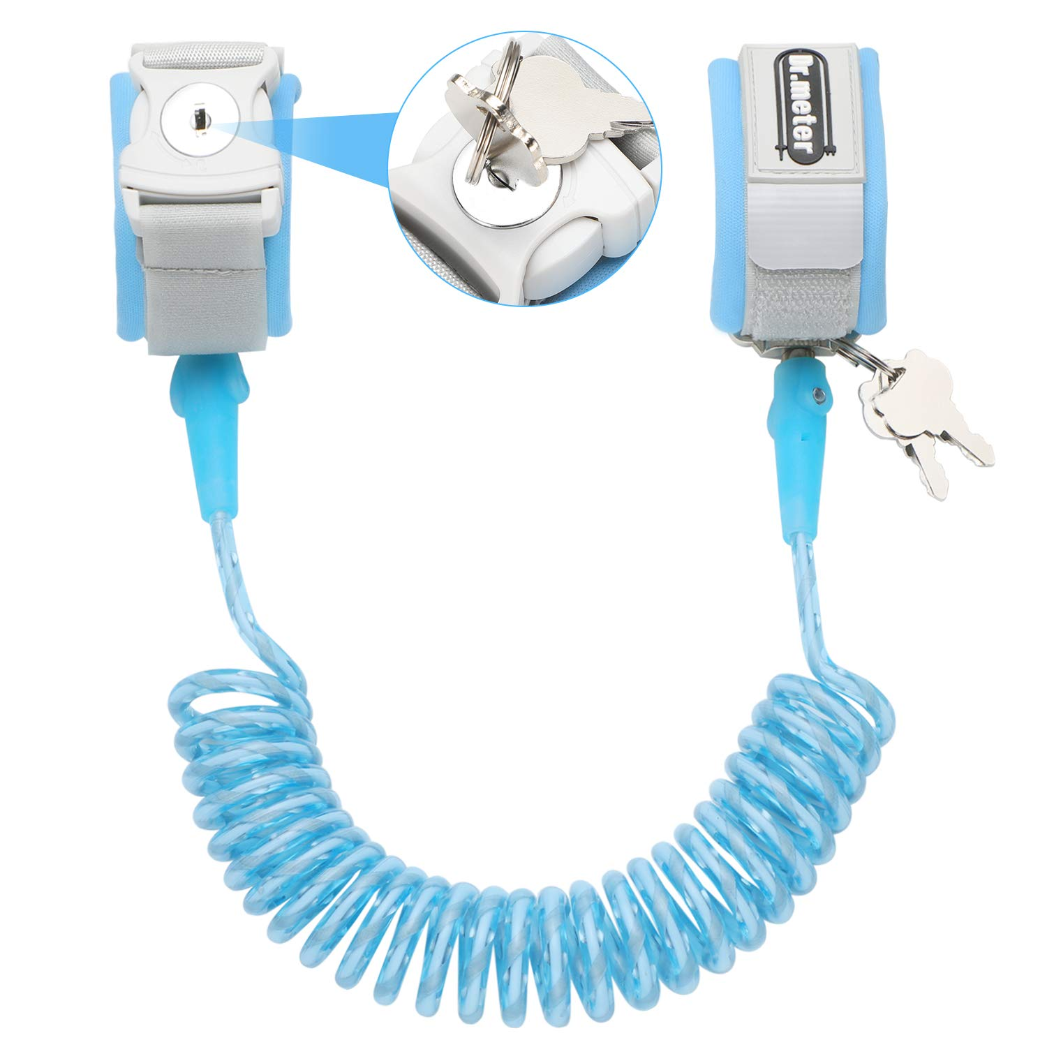 Toddler Leash, Dr.meter Anti Lost Wrist Link Secure Walking Harness with Key Lock for Kids Baby, 2.5M / 8.2ft Safety Wristband Rope (Blue)