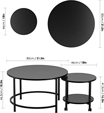 Nesting Coffee Table with Casters, Round Side Table End Table Waterproof Tabletop Metal Frame for Living Room Bedroom Balcony