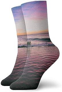 tyui7, Pareja Sea Sunset Landscape Calcetines de compresión antideslizantes Cosy Athletic 30cm Crew Calcetines para hombres, mujeres, niños
