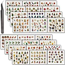 Nails Decals Stickers, KINGMAS 24 Sheets Christmas Multi-Color Mixed Styles Hot stamping Nail Art Decals with Tweezers