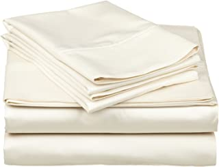 Ethereal Bedding Laura Hill Home Egyptian Cotton Rich 650-Thread Count 4-PC Luxury Sheet Set King Solid Ivory Fit Upto 18'' Inches Deep Pocket
