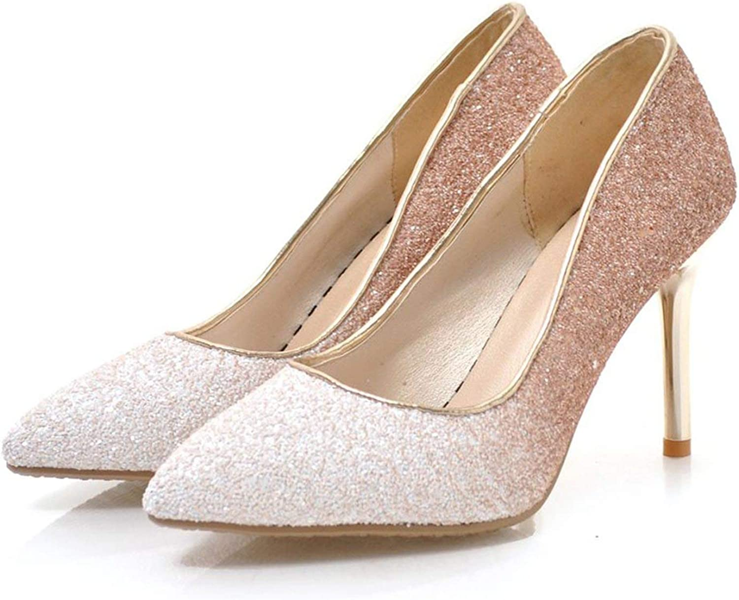 FINDYOU Fashion Sequins Cloth Thin Heel Mix colors Women Pumps shoes Shallow Pointed Toe Dance Dress Party shoes