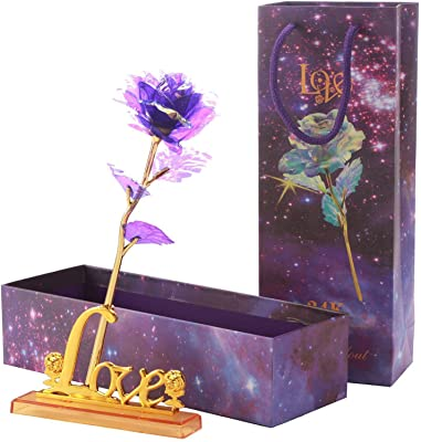 24K Colorful Rose, Gold Rose Artifical Flower with Love Shape Base Unique Gift for Her Women for Valentine's Day, Anniversary, Birthday, Wedding, Christmas, Thanksgiving (24k Gold Purple Rose)