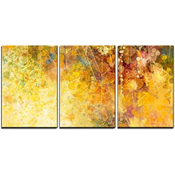 """wall26 - 3 Piece Canvas Wall Art - Abstract Watercolor Painting, White Flowers and Soft Color Leaves - Modern Home Art Stretched and Framed Ready to Hang - 16""""x24""""x3 Panels"""