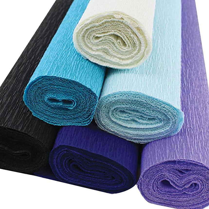 Just Artifacts Premium Crepe Paper Rolls - 8ft Length/20in Width (6pcs, Color: Shades of Blue)