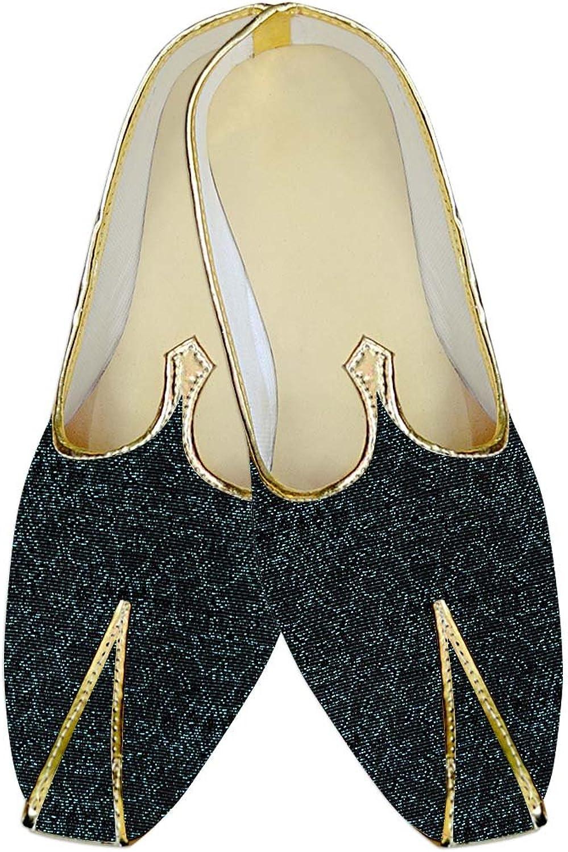 INMONARCH Mens Black Wedding shoes Cyan Design MJ011557