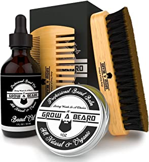 Beard Brush, Comb, Balm, Oil Grooming And Conditioner Beard Care For Men - Best Facial Hair Combo For Home And Travel - Ideal For Dry or Wet And All Sizes & Beards Style (Small)