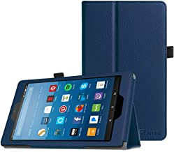 Fintie Folio Case for All-New Amazon Fire HD 8 Tablet (Compatible with 7th and 8th Generation Tablets, 2017 and 2018 Releases) - Slim Fit Premium Vegan Leather Standing Protective Cover, Navy Blue