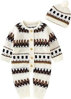 طفل الفتيات الفتيان الشتاء رومبير+ قبعة الوليد القطن محبوك سترة بذلة مجموعات الدافئة مجموعات (Color : White, Size : 3-6 Mo...