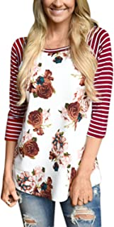 ZXZY Women Bohemian Crew Neck Striped 3/4 Sleeve Floral Print Shirt Blouse Tops