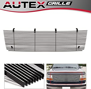 AUTEX Compatible with Ford Bronco/F-150/F-250/F-350 F-Series Pickup/Bronco 1992 93 94 95 1996 Main Billet Grille Grill Insert F85007A