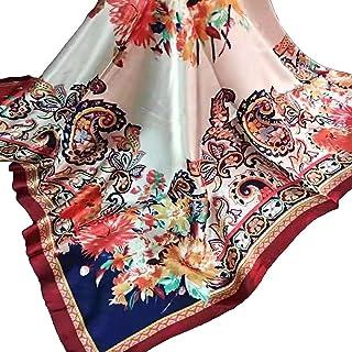 وشاح نسائي أنيق 35 بوصة حريري مثل وشاح كبير مربع ساتان الحجاب نمط خمر والأوشحة والأزياء التفاف