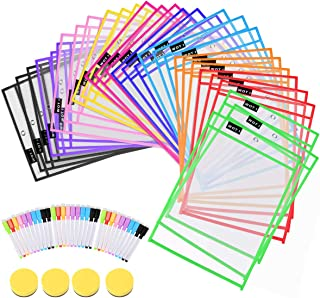 $29 » Dry Erase Pockets 30 Set Dry Erase Sleeves Oversized 10 x 14 Inches Teacher-Supplies- for-Classroom-Reusable-Dry-Erase-Poc...