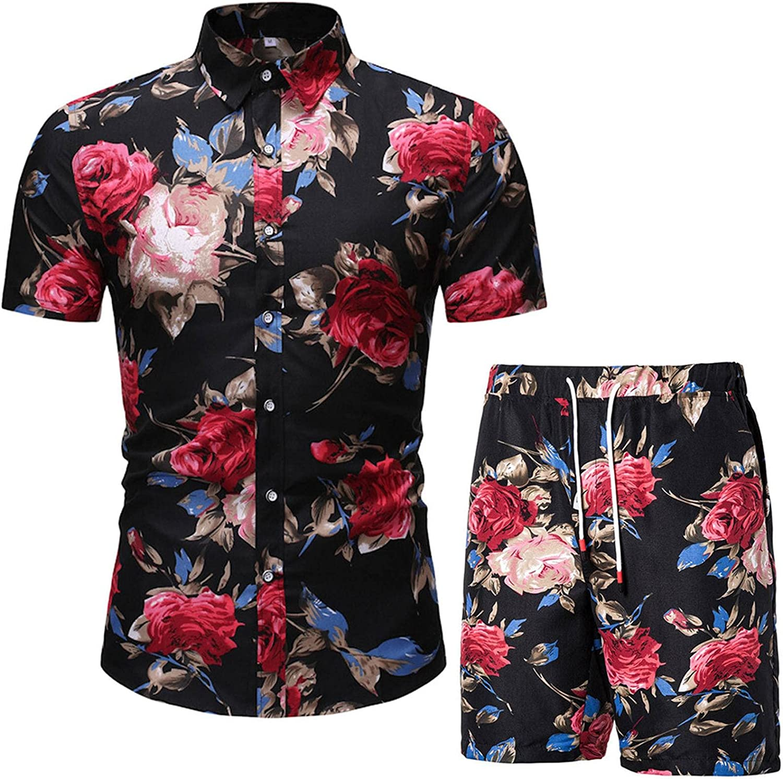 N\C Men's Free Shipping New Printed Shirt Shorts Deluxe Beach Set Hawaiian Board S