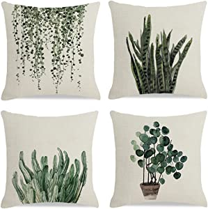 LDJRSY Decorative Green Plants Throw Pillow Covers Set of 4 Square Linen Pillow Case with Invisible Zipper Home Decor Cushion Cover for Car Sofa Bed Couch Living Room 18 x 18 inch (Green 2)