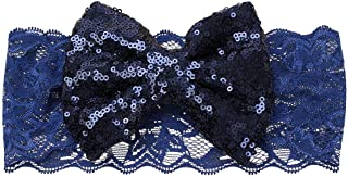 Li-ly Premium Qualité Enfants Bébé Fille Sequin Dentelle Bowknot Bande De Cheveux Twinkling Bandeau Marine Bleu