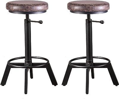 BOKKOLIK Set of 2-Vintage Bar Stool Swivel PU Leather Seat Kitchen Island Workbench Chair Height Adjustable 23-31 inch