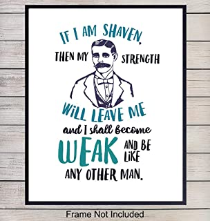 Manly Bathroom Decor Art Print - Typography Wall Art Poster - Unique Funny Home Decoration for Bath - Gift for Men with Beards - 8x10 Photo Unframed