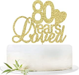 Glitter Gold 80 Years Loved Cake Topper-80th Birthday Wedding Party Decorations Supplies-Eighty Birthday or Wedding Party Sign.