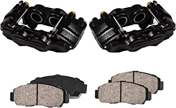 CCK01084 [2] FRONT Performance Loaded Powder Coated Black Caliper Assembly + Quiet Low Dust Ceramic Brake Pads