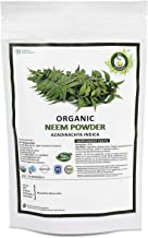 R V Essential Organic Neem Powder 200gm/ 7.05oz/ 0.44lb- Azadirachta Indica Neem Leaf Powder For Tooth For Hair For Skin USDA Organic Certified Supplement in Resealable and Reusable Zip Lock Pouch