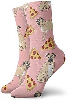 QRRIYクリスマスソックスパグピザピンク非スリップ家庭床ソックス冬居心地の良いスリッパ靴下女性男性