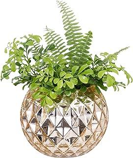 Diamond Star Decorative Glass Vase Mercury Bowl Vases Gold Table Vase Diamond Pattern Flower Vase for Home Wedding Party Centerpiece(Small)