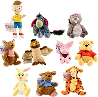 Bean Bags Disney Plush - Winnie The Pooh Set of 10 (Pooh, Tigger, Roo, Eeyore, Piglet, Kanga +4)