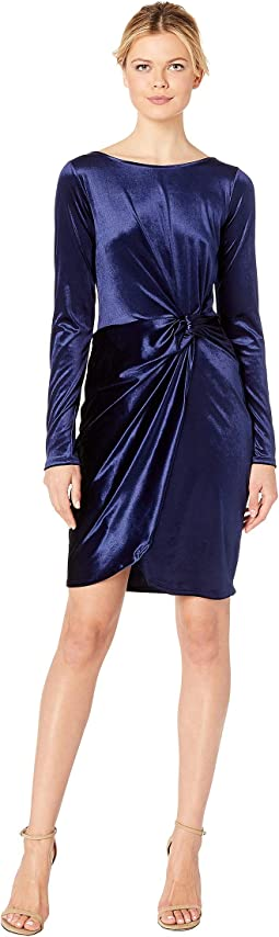 Long Sleeve Stretch Panne Velvet Dress with Twist