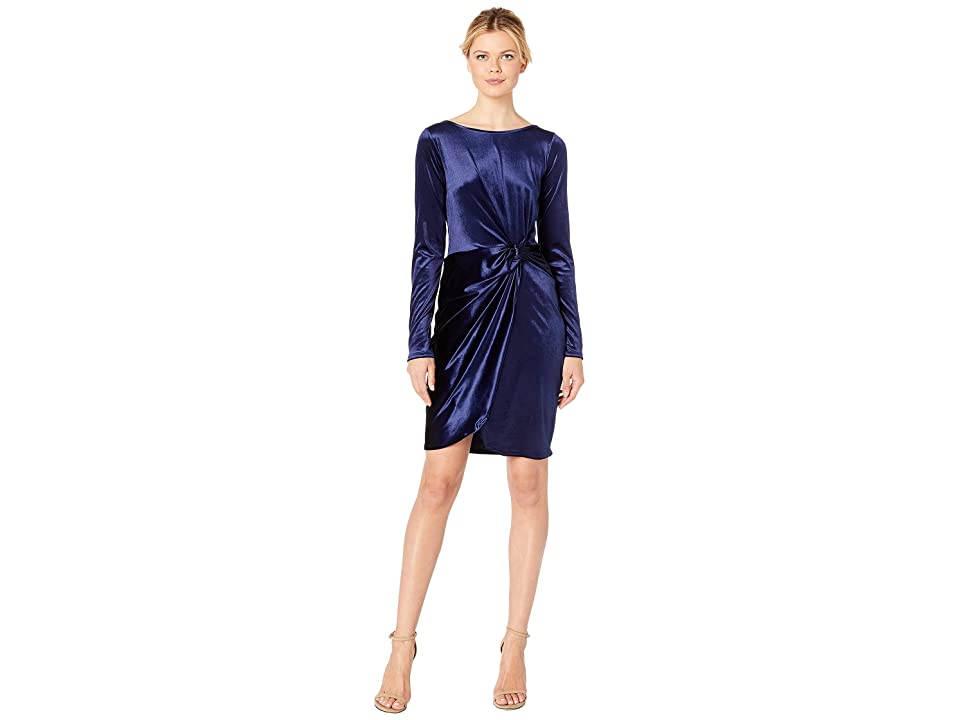 Three Dots Long Sleeve Stretch Panne Velvet Dress with Twist (Navy) Women